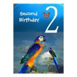 HYPER PARROTS / Second Birthday Party Turquase Custom Invitations