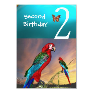 HYPER PARROTS / Second Birthday Party Turquase Red Card