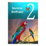 HYPER PARROTS / Second Birthday Party Turquase Red Custom Invitation