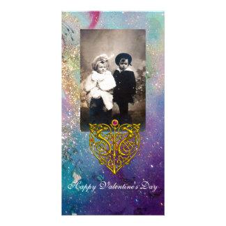 HYPER VALENTINE ,Blue Green Gold Sparkles Card