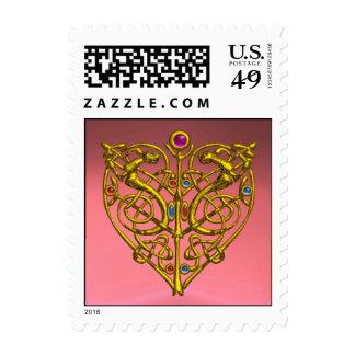 HYPER VALENTINE / Gold Celtic Heart in Pink Postage