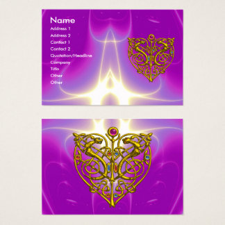 HYPER VALENTINE,GOLD CELTIC HEART Pink Fuchsia Business Card