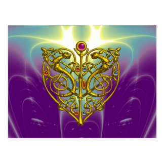 HYPER VALENTINE / Gold Celtic Heart Postcard