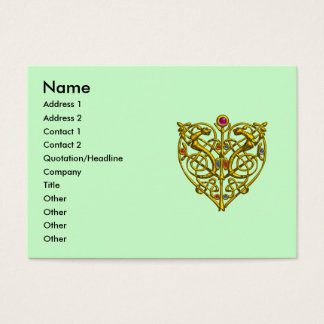 HYPER VALENTINE,GOLD CELTIC KNOT HEART JEWEL Green Business Card