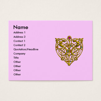 HYPER VALENTINE /GOLD CELTIC KNOT HEART JEWEL Pink Business Card