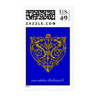 HYPER VALENTINE Gold Heart,Celtic Knots Blue Postage