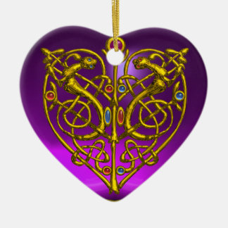 HYPER VALENTINE HEART Amethyst & Blue Aquamarine Ceramic Ornament