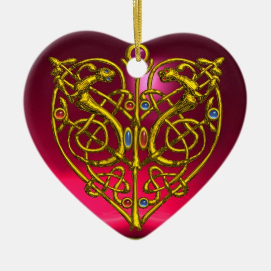 HYPER VALENTINE HEART Red Ruby and Blue Sapphire Ceramic Ornament