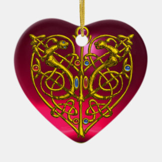 HYPER VALENTINE HEART Red Ruby and Green Emerald Ceramic Ornament