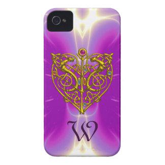 HYPER VALENTINE MONOGRAM  Pink Fuchsia Purple iPhone 4 Case-Mate Case