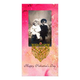 HYPER VALENTINE ,Pink Fuchsia  Gold Sparkles Card