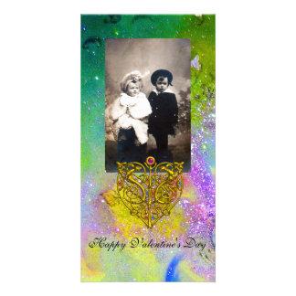 HYPER VALENTINE ,Purple Green Gold Sparkles Card