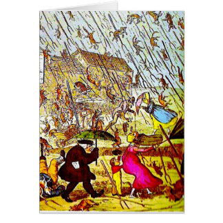 Hyperbole Raining Cats and Dogs Greeting Card