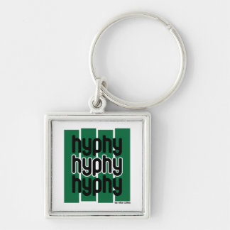 Hyphy Green Silver-Colored Square Keychain
