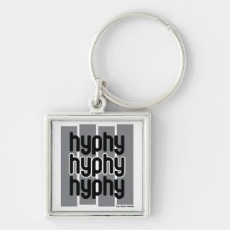Hyphy Grey Silver-Colored Square Keychain