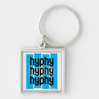 Hyphy Light Blue Silver-Colored Square Keychain