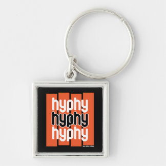 Hyphy Orange Silver-Colored Square Keychain