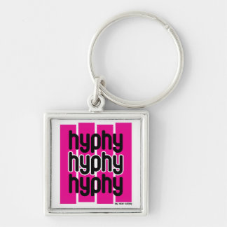 Hyphy Pink Silver-Colored Square Keychain