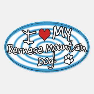 Hypno Blue I Love my Bernese Mountain Dog Oval Sticker
