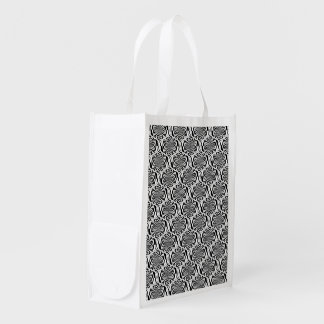 Hypnosis Pattern black white + your ideas Reusable Grocery Bag