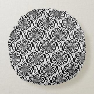Hypnosis Pattern black white + your ideas Round Pillow