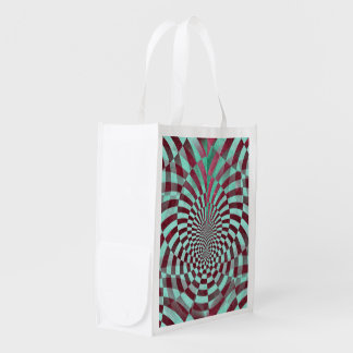 Hypnosis seamless grunge Pattern + your ideas Grocery Bag