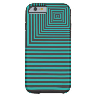 Hypnosis Squared Pattern Teal and Black Tough iPhone 6 Case