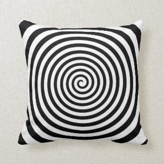 Hypnotic Black and White Spiral - Hypno-Pillow Throw Pillow