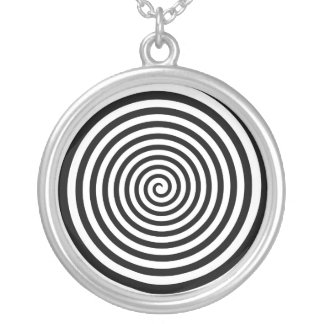 Hypnotic Black and White Spiral Round Pendant Necklace