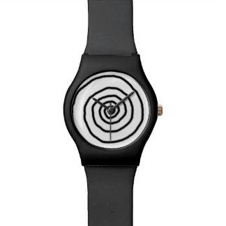 hypnotic black spiral time watch