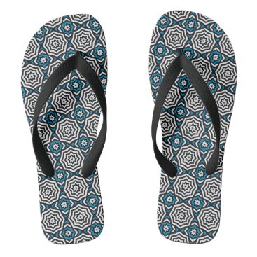 Beach Themed Hypnotic Blue Flip Flops