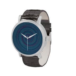 hypnotic blue spiral time wrist watch