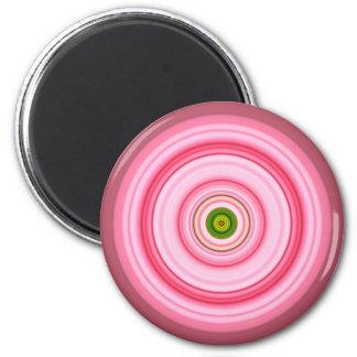 Hypnotic Circle Fuchsia Green Magnet