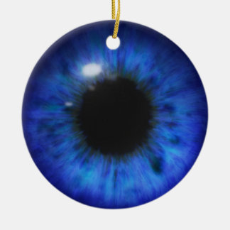 Hypnotic Deep Blue eyes Double-Sided Ceramic Round Christmas Ornament