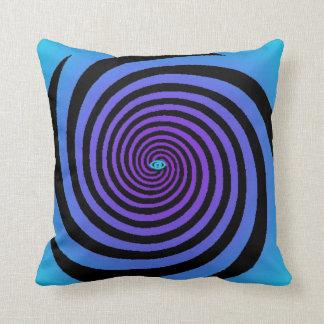 Hypnotic Eye Spiral Blue Purple Black Pillow