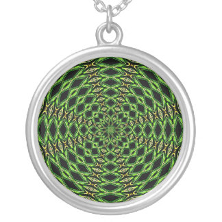 Hypnotic Green Tunnel by KLM Round Pendant Necklace