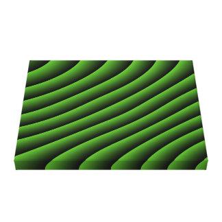 Hypnotic Green Wavy Lines Canvas Print
