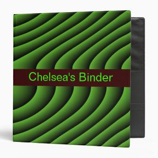 Hypnotic Green Wavy Lines Custom Binder