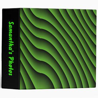 Hypnotic Green Wavy Lines Custom Photo Album Binder