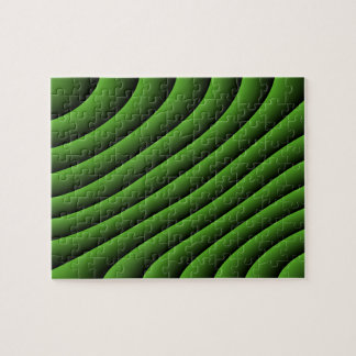 Hypnotic Green Wavy Lines Difficult Puzzle