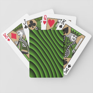 Hypnotic Green Wavy Lines Playing Cards