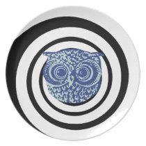 hypnotic owl dinner plate