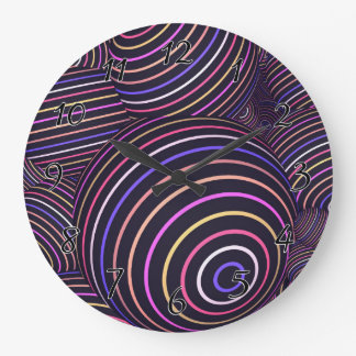 Hypnotic Rainbow Colored Spheres Abstract Large Clock