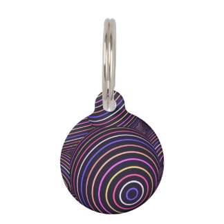 Hypnotic Rainbow Colored Spheres Abstract Pet Tag