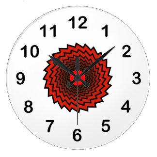 Hypnotic red illustration large clock