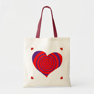 hypnotic red love heart tote bag