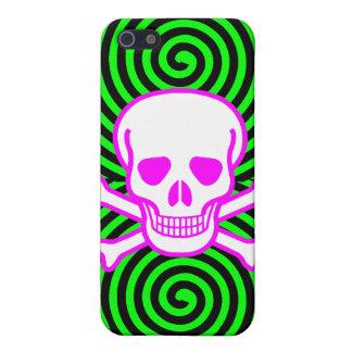 Hypnotic Skull Spirals iPhone 4 Case Green Pink