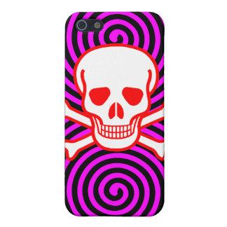 Hypnotic Skull Spirals iPhone 4 Case (Red Pink)
