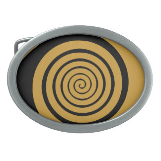 hypnotic spiral oval belt buckle