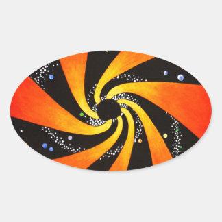 HYPNOTIC SPIRAL GALAXY OVAL STICKER